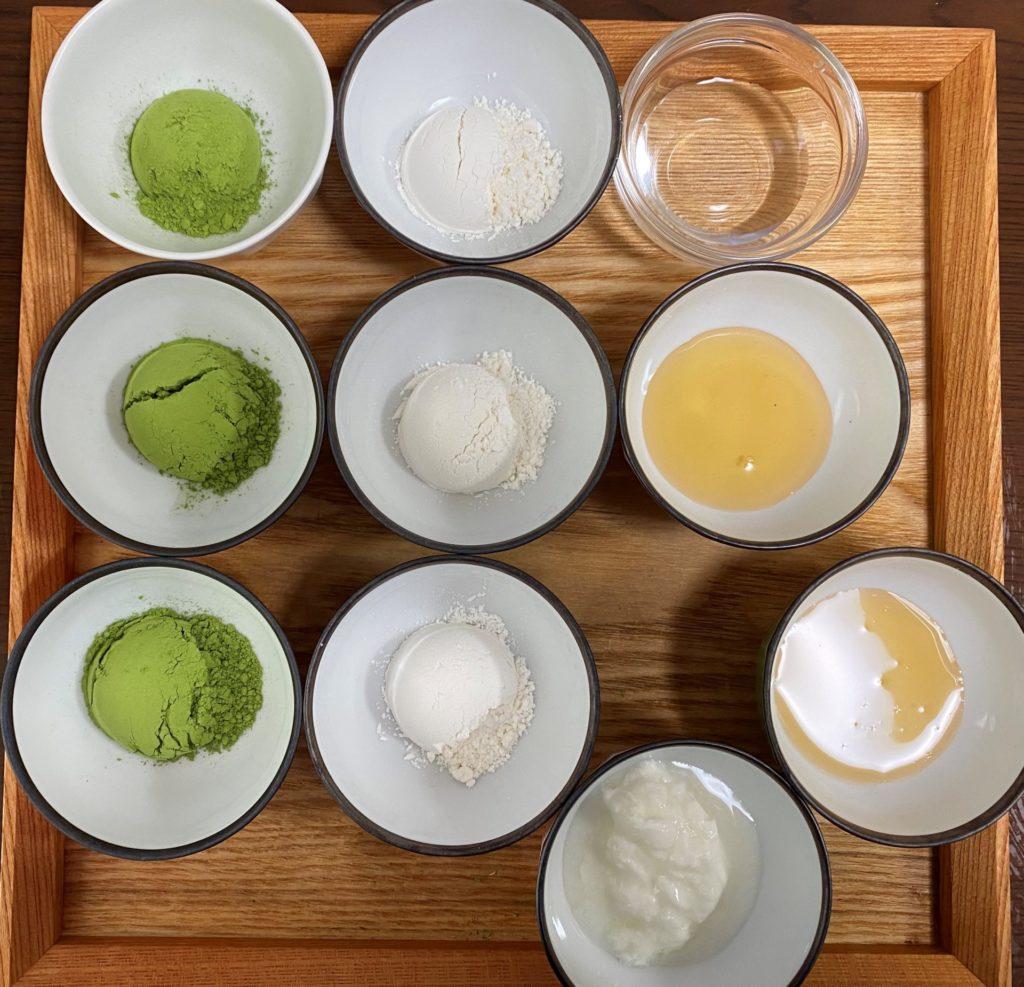 緑茶フェイスパック3種類分の材料